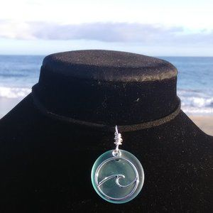 Light Sea Green Silver Ocean Wave Necklace